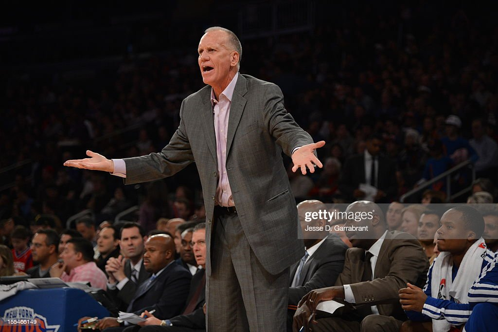 Head Coach Doug Collins of the Philadelphia 76ers throws his hands out during a game vs the New York Knicks on November 4, 2012 at Madison Square Garden in New York City.