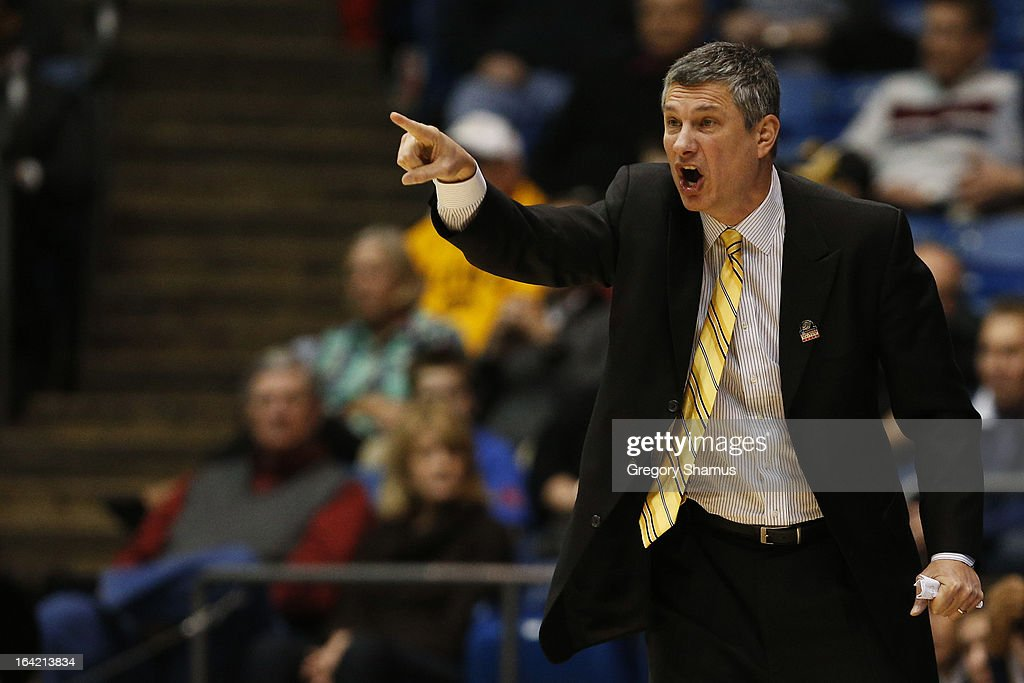 Head coach Dr. John Giannini of the La Salle Explorers reacts in the second half against the Boise State Broncos during the first round of the 2013 NCAA Men's Basketball Tournament at University of Dayton Arena on March 20, 2013 in Dayton, Ohio.