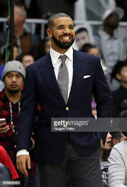 Head Coach Drake of Team Canada reacts from the bench during the NBA AllStar Celebrity Game against Team USA at the Ricoh Coliseum on February 12...