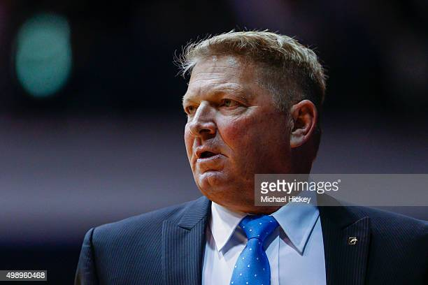 Head coach Duggar Baucom of the Citadel Bulldogs is seen during the game against the Butler Bulldogs at Hinkle Fieldhouse on November 14 2015 in...