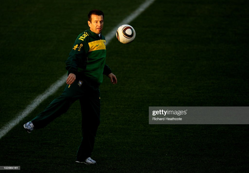 Head Coach Dunga controls the ball during the Brazil Training session at Nelson Mandela Metropolitan University on July 1 2010 in Port Elizabeth...
