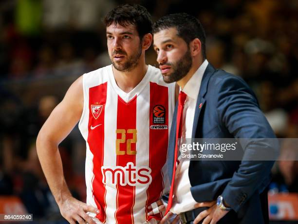 Head coach Dusan Alimpijevic and Taylor Rochestie of Crvena Zvezda look on during the 2017/2018 Turkish Airlines EuroLeague Regular Season game...