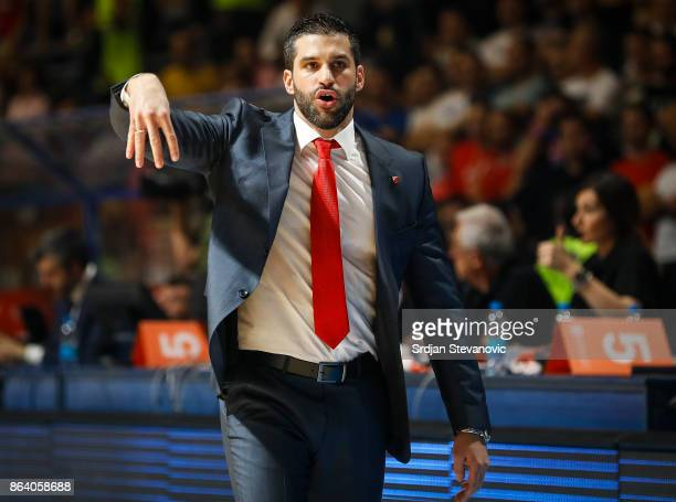 Head coach Dusan Alimpijevic of Crvena Zvezda reacts during the 2017/2018 Turkish Airlines EuroLeague Regular Season game between Crvena Zvezda mts...