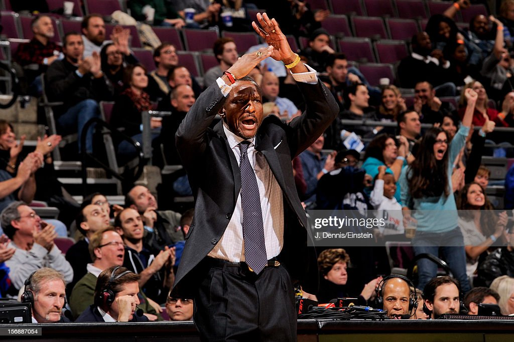 Head Coach <a gi-track='captionPersonalityLinkClicked' href=/galleries/search?phrase=Dwane+Casey&family=editorial&specificpeople=242849 ng-click='$event.stopPropagation()'>Dwane Casey</a> of the Toronto Raptors calls for a timeout in the fourth quarter against the Detroit Pistons on November 23, 2012 at The Palace of Auburn Hills in Auburn Hills, Michigan.