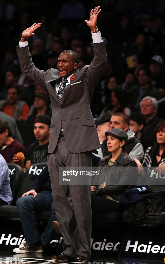 Head coach <a gi-track='captionPersonalityLinkClicked' href=/galleries/search?phrase=Dwane+Casey&family=editorial&specificpeople=242849 ng-click='$event.stopPropagation()'>Dwane Casey</a> of the Toronto Raptors directs his players in the fourth quarter against the Brooklyn Nets on November 3, 2012 in the Brooklyn borough of New York City. The Brooklyn Nets defeated the Toronto Raptors 107-100.