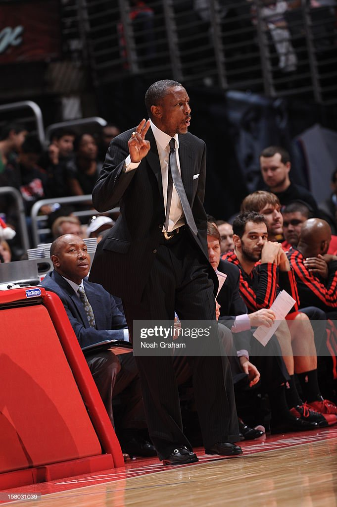 Head coach Dwane Casey of the Toronto Raptors directs his team during the game against the Los Angeles Clippers at Staples Center on December 9, 2012 in Los Angeles, California.