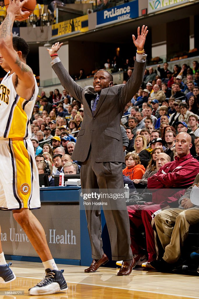 Head Coach Dwane Casey of the Toronto Raptors directs his team against the Indiana Pacers on November 13, 2012 at Bankers Life Fieldhouse in Indianapolis, Indiana.