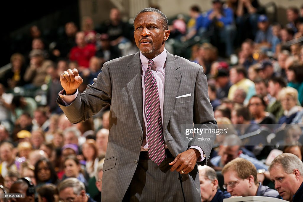 Head Coach Dwane Casey of the Toronto Raptors directs his team against the Indiana Pacers on February 8, 2013 at Bankers Life Fieldhouse in Indianapolis, Indiana.