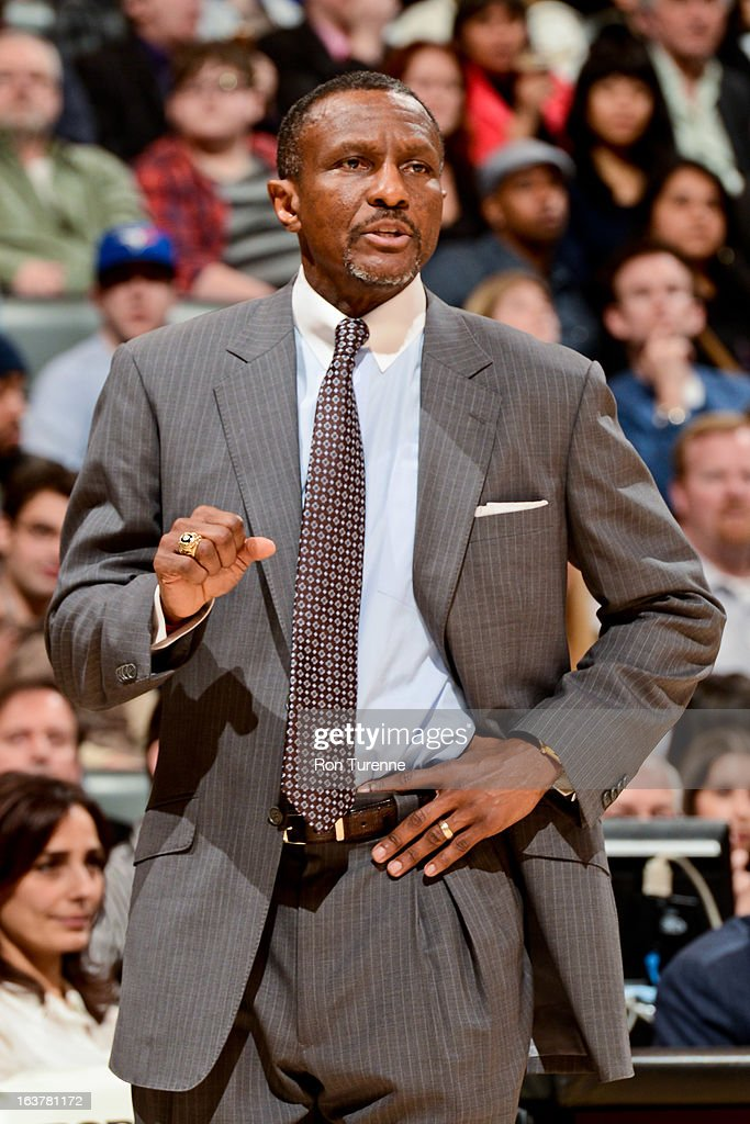 Head Coach Dwane Casey of the Toronto Raptors directs his team against the Charlotte Bobcats on March 15, 2013 at the Air Canada Centre in Toronto, Ontario, Canada.