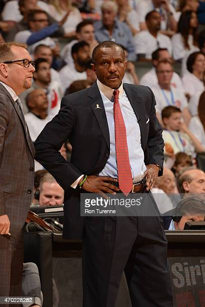 Head coach Dwane Casey of the Toronto Raptors during Game One of the Eastern Conference Quarterfinals against the Washington Wizards during the NBA...