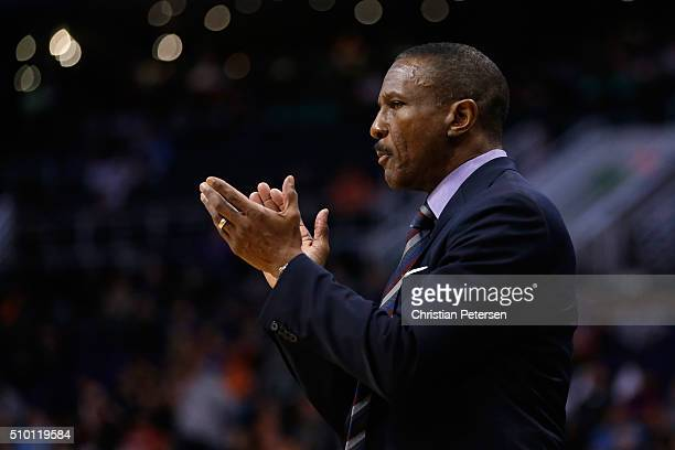 Head coach Dwane Casey of the Toronto Raptors during the first half of the NBA game against the Phoenix Suns at Talking Stick Resort Arena on...