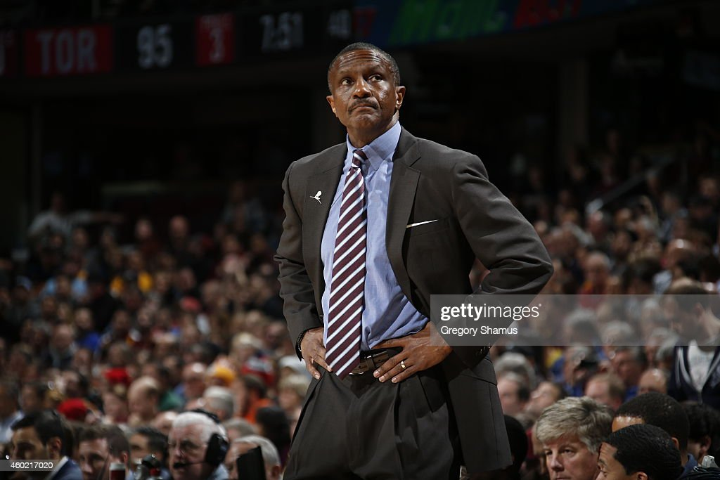 Head Coach Dwane Casey of the Toronto Raptors during the game against the Cleveland Cavaliers on December 9 2014 at The Quicken Loans Arena in...