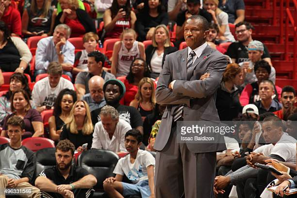 Head coach Dwane Casey of the Toronto Raptors during the game against the Miami Heat on November 8 2015 at American Airlines Arena in Miami Florida...