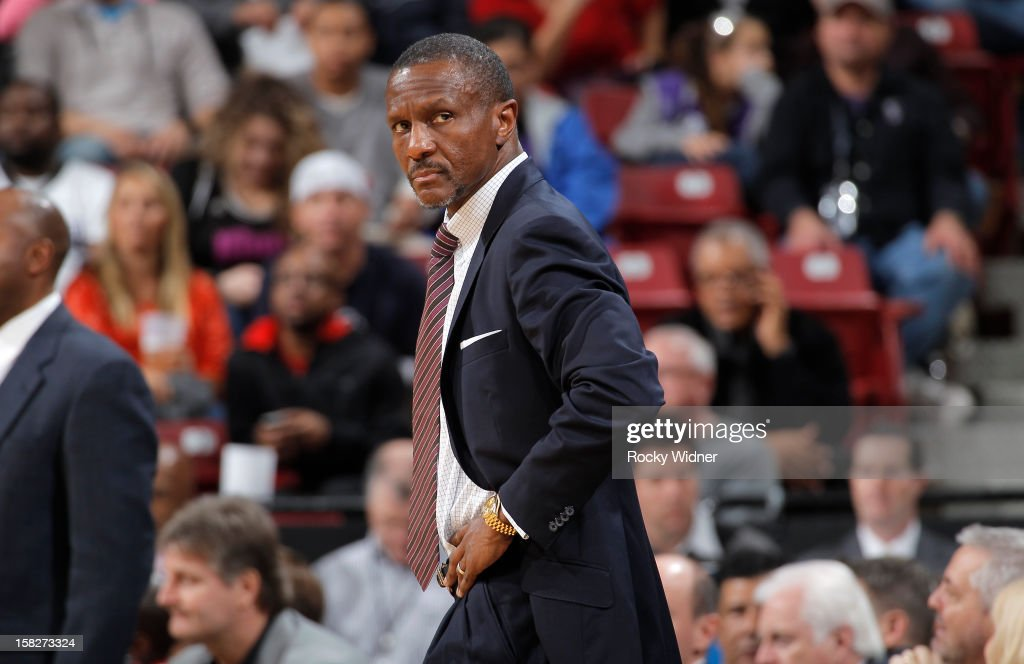 Head coach Dwane Casey of the Toronto Raptors in a game against the Sacramento Kings on December 5, 2012 at Sleep Train Arena in Sacramento, California.