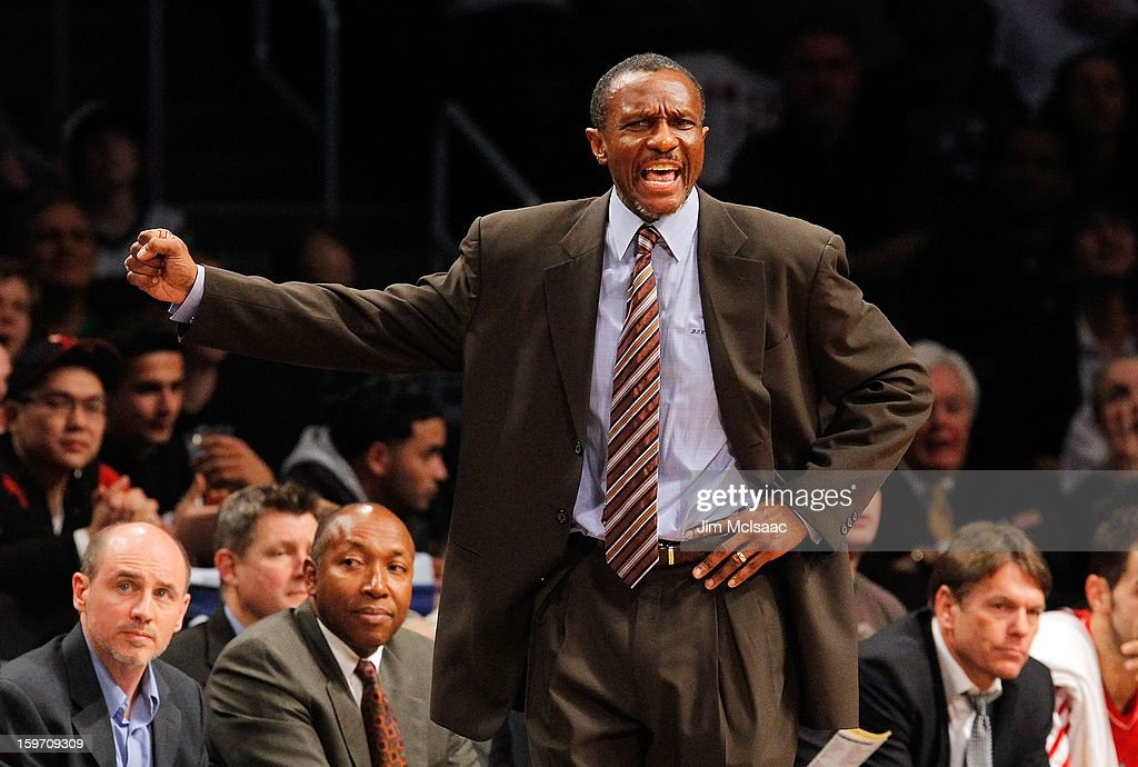Head coach Dwane Casey of the Toronto Raptors in action against the Brooklyn Nets at Barclays Center on January 15, 2013 in the Brooklyn borough of New York City.The Nets defeated the Raptors 113-106.