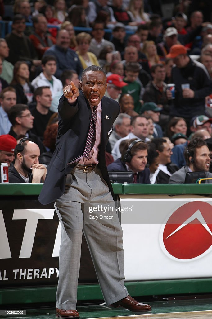Head Coach, Dwane Casey, of the Toronto Raptors instructs his team from the sideline during the game against the Milwaukee Bucks on March 2, 2013 at the BMO Harris Bradley Center in Milwaukee, Wisconsin.