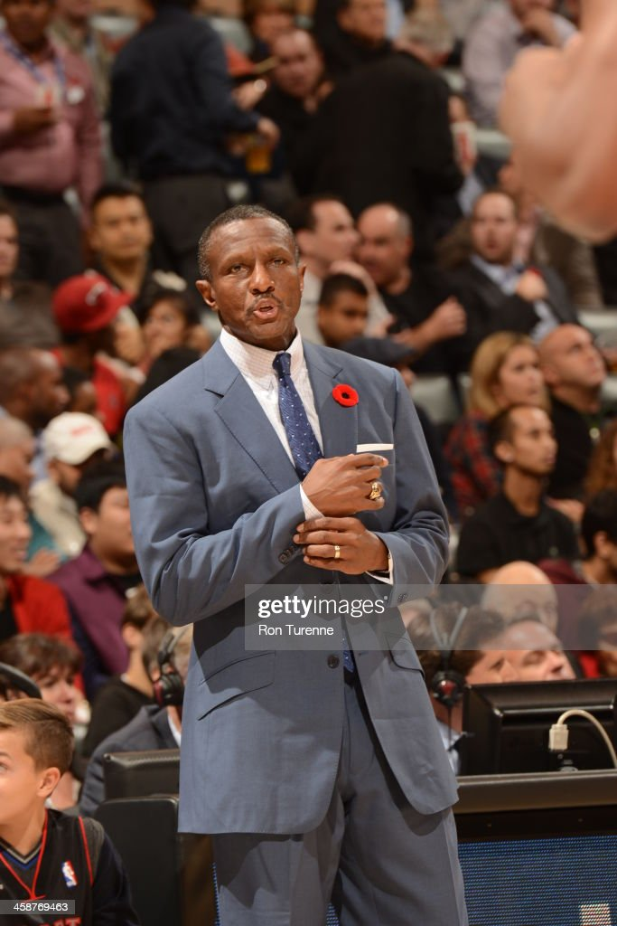 Head Coach <a gi-track='captionPersonalityLinkClicked' href=/galleries/search?phrase=Dwane+Casey&family=editorial&specificpeople=242849 ng-click='$event.stopPropagation()'>Dwane Casey</a> of the Toronto Raptors looks on against the Miami Heat during the game on November 5, 2013 at the Air Canada Centre in Toronto, Ontario, Canada.