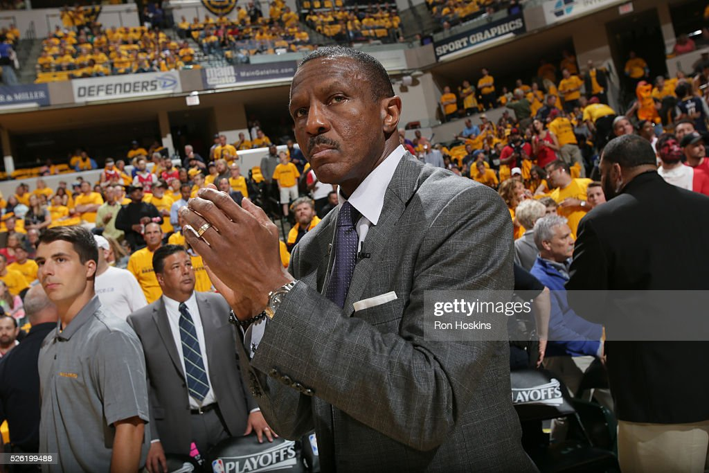 Head coach Dwane Casey of the Toronto Raptors looks on before the game against the Indiana Pacers in Game Six of the Eastern Conference Quarterfinals during the 2016 NBA Playoffs on April 29, 2016 at Bankers Life Fieldhouse in Indianapolis, Indiana.