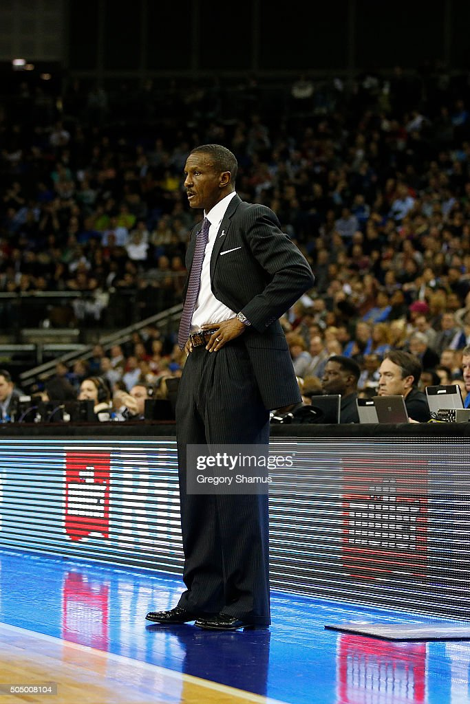 Head coach <a gi-track='captionPersonalityLinkClicked' href=/galleries/search?phrase=Dwane+Casey&family=editorial&specificpeople=242849 ng-click='$event.stopPropagation()'>Dwane Casey</a> of the Toronto Raptors looks on during the game against the Orlando Magic as part of the 2016 Global Games London on January 14, 2016 at The O2 Arena in London, England.
