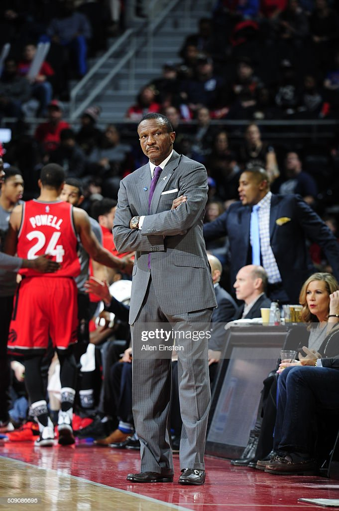 Head Coach <a gi-track='captionPersonalityLinkClicked' href=/galleries/search?phrase=Dwane+Casey&family=editorial&specificpeople=242849 ng-click='$event.stopPropagation()'>Dwane Casey</a> of the Toronto Raptors looks on during the game against the Detroit Pistons on February 8, 2016 at The Palace of Auburn Hills in Auburn Hills, Michigan.