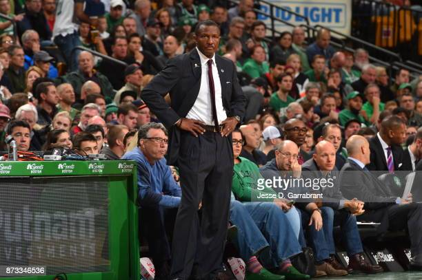 Head Coach Dwane Casey of the Toronto Raptors looks on during the game against the Boston Celtics on November 12 2017 at the TD Garden in Boston...