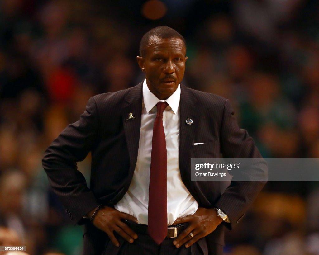 Head coach Dwane Casey of the Toronto Raptors looks on during the game against the Boston Celtics at TD Garden on November 12, 2017 in Boston, Massachusetts.