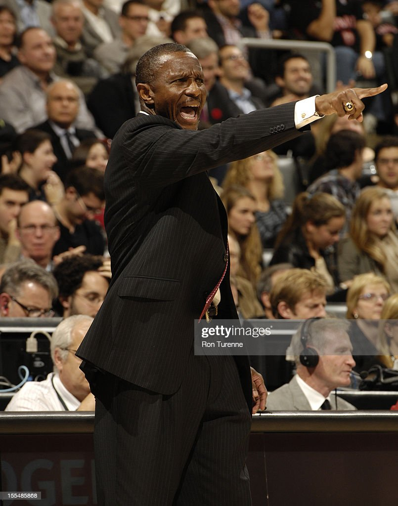Head Coach Dwane Casey of the Toronto Raptors points to his players vs the Minnesota Timberwolves during the game on November 4, 2012 at the Air Canada Centre in Toronto, Ontario, Canada.