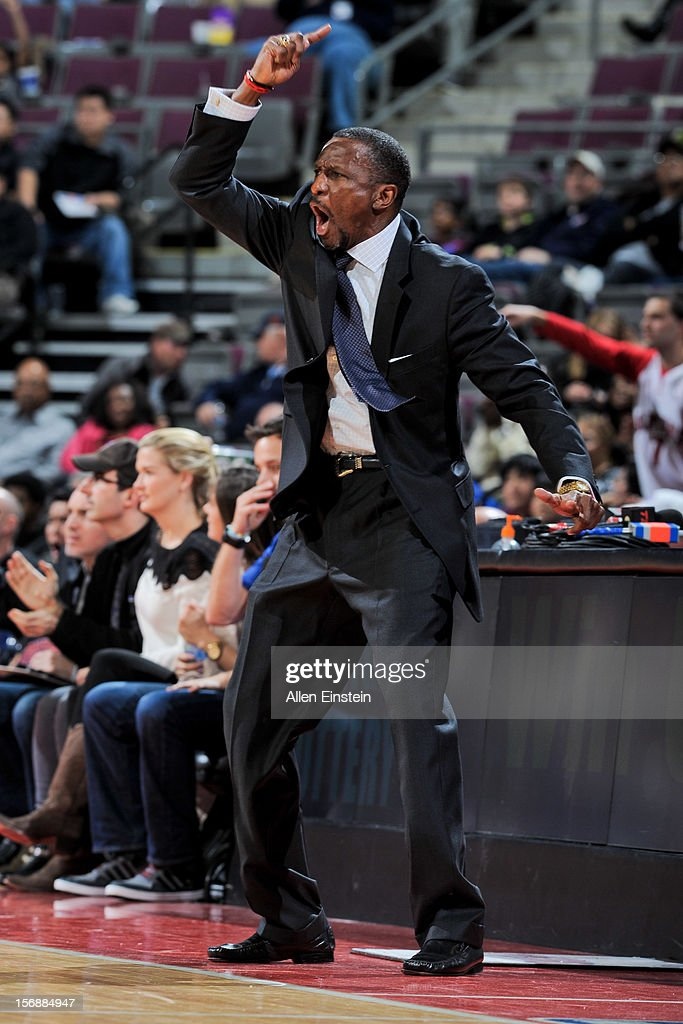 Head Coach Dwane Casey of the Toronto Raptors reacts during a game against the Detroit Pistons on November 23, 2012 at The Palace of Auburn Hills in Auburn Hills, Michigan.