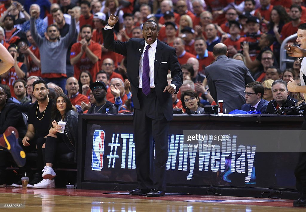 Head coach Dwane Casey of the Toronto Raptors reacts during the first half against the Cleveland Cavaliers in game three of the Eastern Conference...