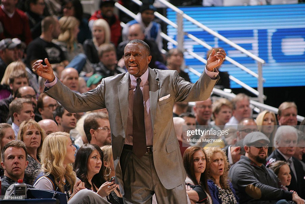 Head Coach <a gi-track='captionPersonalityLinkClicked' href=/galleries/search?phrase=Dwane+Casey&family=editorial&specificpeople=242849 ng-click='$event.stopPropagation()'>Dwane Casey</a> of the Toronto Raptors reacts during the game against the Utah Jazz at Energy Solutions Arena on December 07, 2012 in Salt Lake City, Utah.