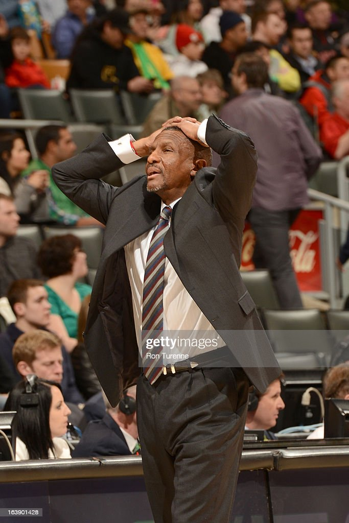 Head Coach <a gi-track='captionPersonalityLinkClicked' href=/galleries/search?phrase=Dwane+Casey&family=editorial&specificpeople=242849 ng-click='$event.stopPropagation()'>Dwane Casey</a> of the Toronto Raptors reacts during the game between the Toronto Raptors and the Miami Heat on March 17, 2013 at the Air Canada Centre in Toronto, Ontario, Canada.