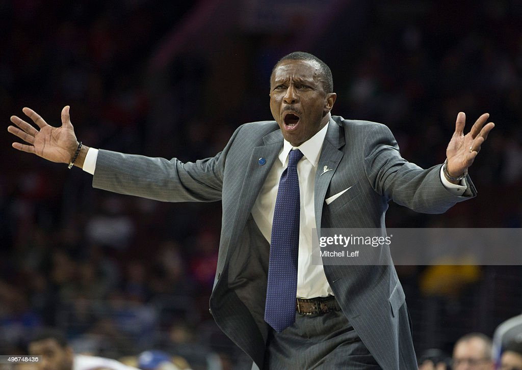 Head coach <a gi-track='captionPersonalityLinkClicked' href=/galleries/search?phrase=Dwane+Casey&family=editorial&specificpeople=242849 ng-click='$event.stopPropagation()'>Dwane Casey</a> of the Toronto Raptors reacts during the game against the Philadelphia 76ers on November 11, 2015 at the Wells Fargo Center in Philadelphia, Pennsylvania.