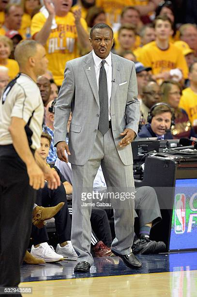 Head coach Dwane Casey of the Toronto Raptors reacts during the second half against the Cleveland Cavaliers in game two of the Eastern Conference...