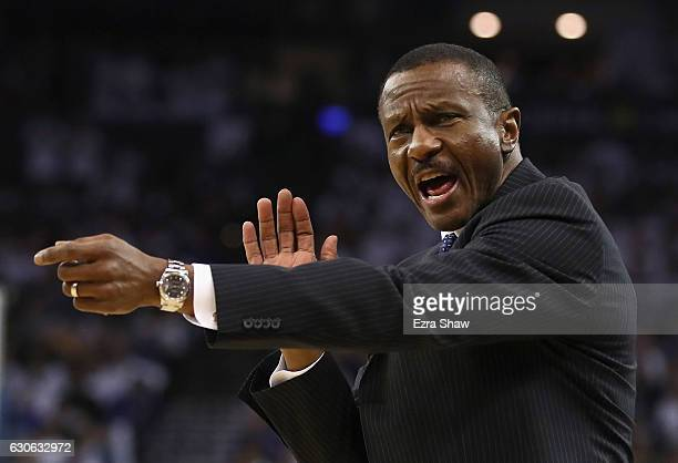 Head coach Dwane Casey of the Toronto Raptors reacts during their game against the Golden State Warriors at ORACLE Arena on December 28 2016 in...