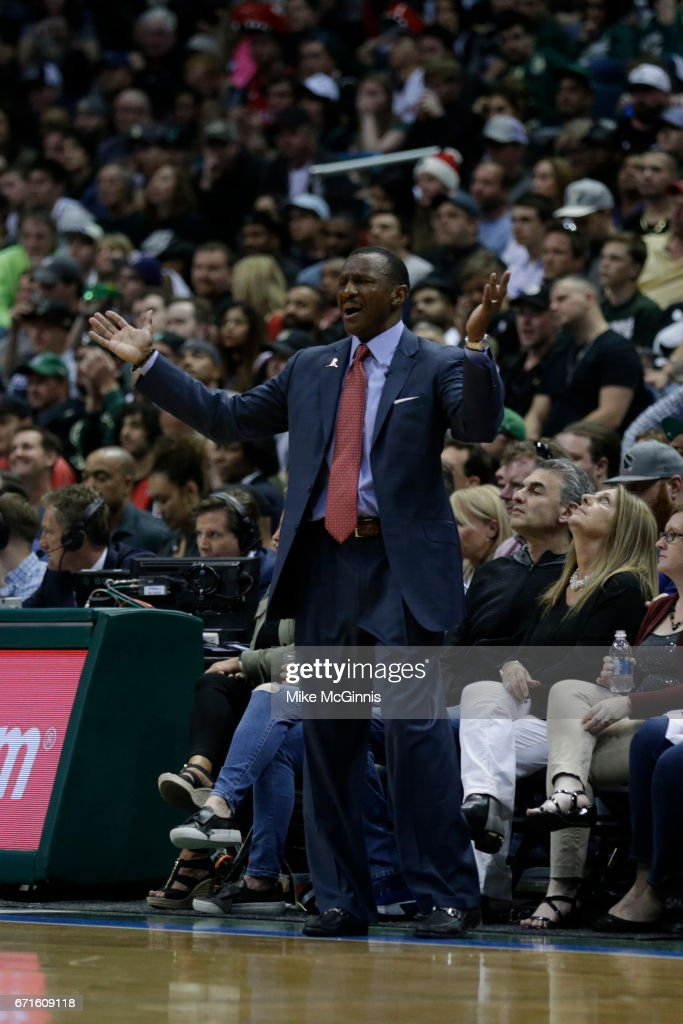 Head Coach Dwane Casey of the Toronto Raptors reacts on the sidelines during the second half against the Milwaukee Bucks of Game Four of the Eastern Conference Quarterfinals during the 2017 NBA Playoffs at the BMO Harris Bradley Center on April 22, 2017 in Milwaukee, Wisconsin.