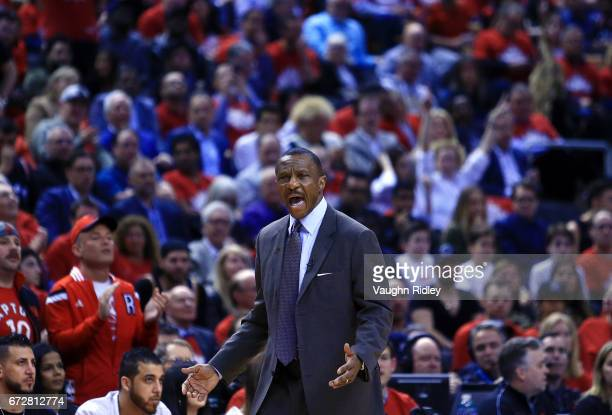 Head coach Dwane Casey of the Toronto Raptors reacts to a call by an official in the first half of Game Five of the Eastern Conference Quarterfinals...