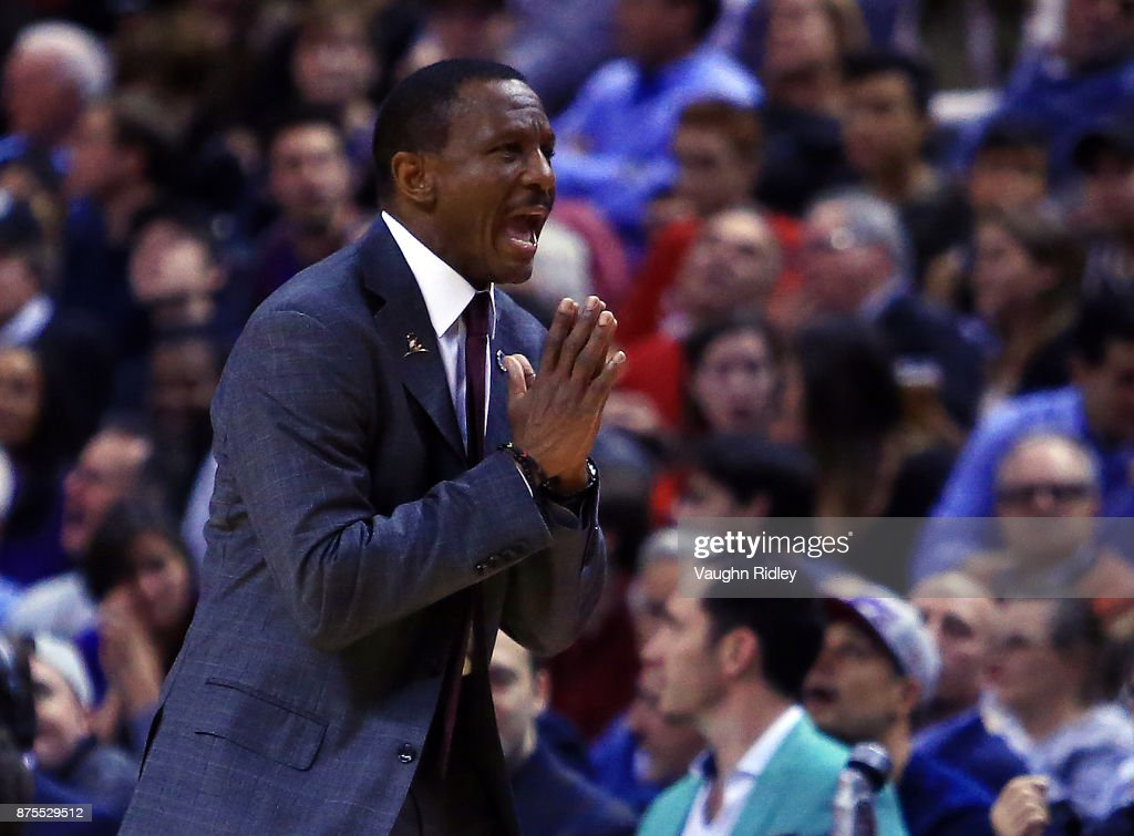 Head Coach Dwane Casey of the Toronto Raptors reacts to a call by an official during the first half of an NBA game against the New York Knicks at Air Canada Centre on November 17, 2017 in Toronto, Canada.