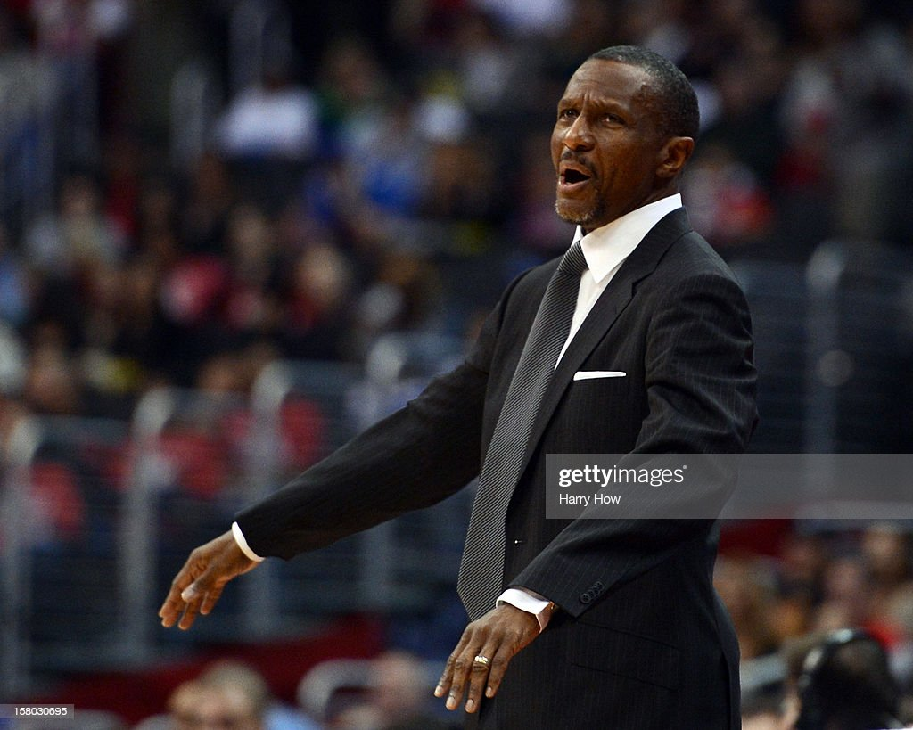 Head Coach Dwane Casey of the Toronto Raptors reacts to a call during the game against the Los Angeles Clippers at Staples Center on December 9, 2012 in Los Angeles, California.