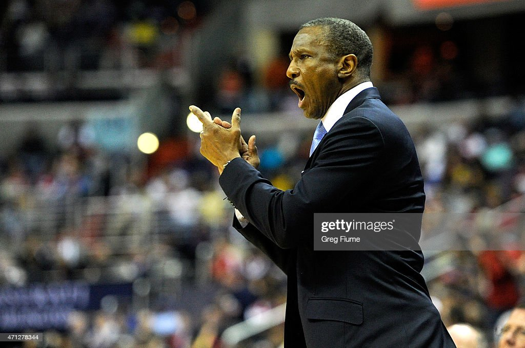 Head Coach <a gi-track='captionPersonalityLinkClicked' href=/galleries/search?phrase=Dwane+Casey&family=editorial&specificpeople=242849 ng-click='$event.stopPropagation()'>Dwane Casey</a> of the Toronto Raptors reacts to a call during the first quarter of the game against the Washington Wizards during Game Four of the Eastern Conference Quarterfinals of the NBA playoffs at Verizon Center on April 26, 2015 in Washington, DC.