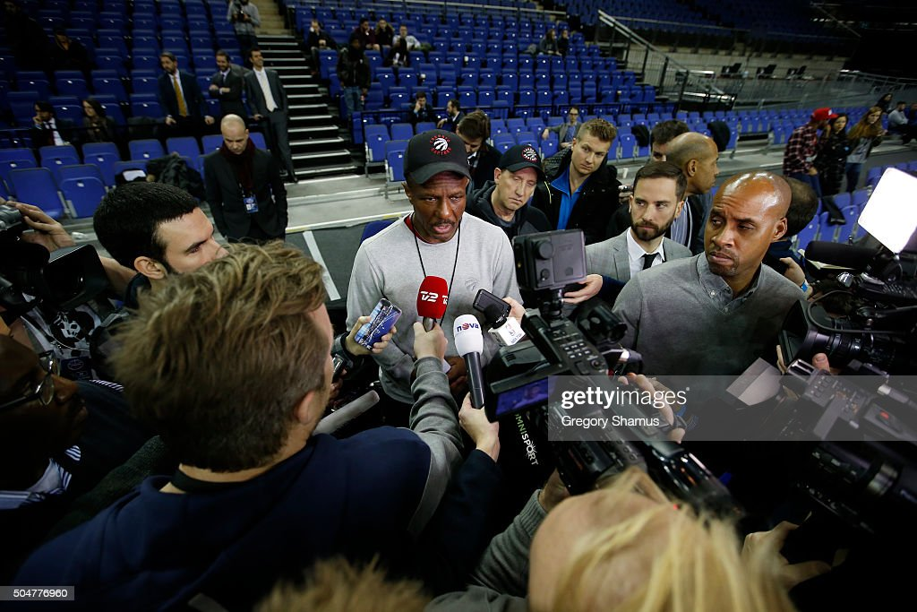 Head Coach Dwane Casey of the Toronto Raptors speaks to the media after practice as part of the 2016 Global Games London on January 13, 2016 at The O2 Arena in London, England.