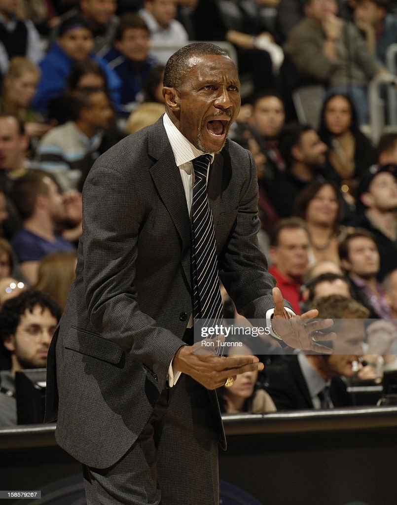 Head Coach <a gi-track='captionPersonalityLinkClicked' href=/galleries/search?phrase=Dwane+Casey&family=editorial&specificpeople=242849 ng-click='$event.stopPropagation()'>Dwane Casey</a> of the Toronto Raptors yells out to his players on the court against the Detroit Pistons during the game on December 19, 2012 at the Air Canada Centre in Toronto, Ontario, Canada.