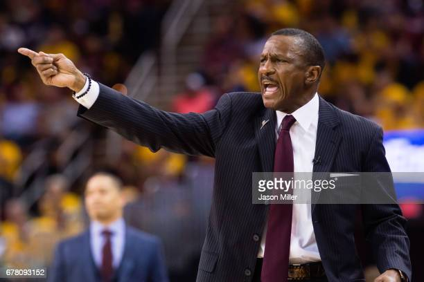 Head coach Dwane Casey of the Toronto Raptors yells to his players during the first half of Game Two of the NBA Eastern Conference semifinals against...