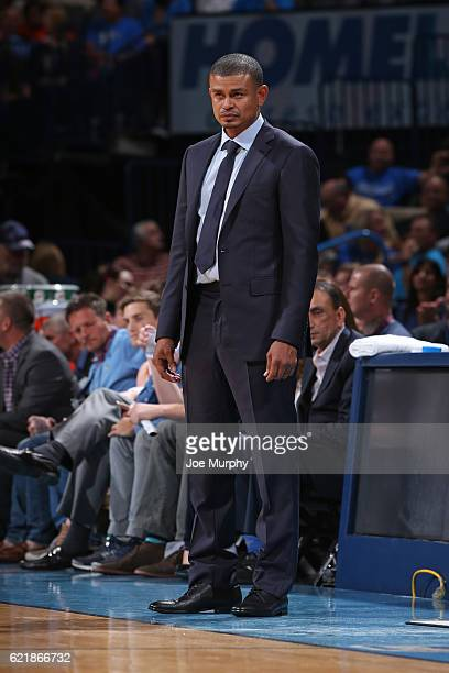 Head Coach Earl Watson of the Phoenix Suns looks on during the game against the Oklahoma City Thunder on October 28 2016 at the Chesapeake Energy...