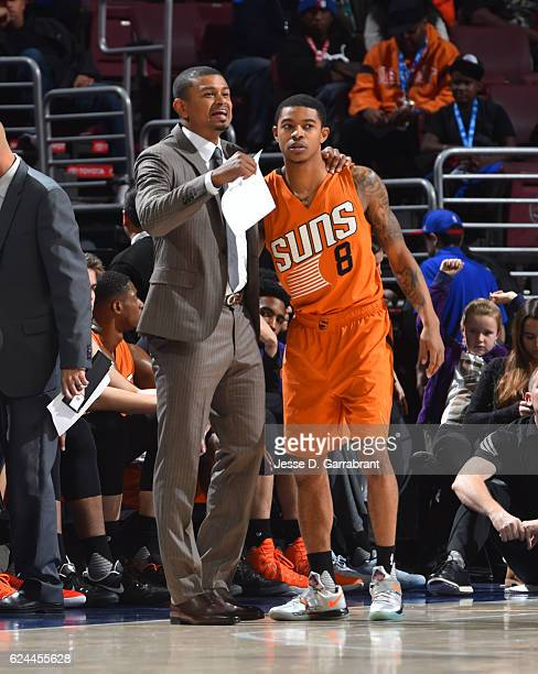 Head Coach Earl Watson speaks with Tyler Ulis of the Phoenix Suns against the Philadelphia 76ers a game at the Wells Fargo Center on November 19 2016...