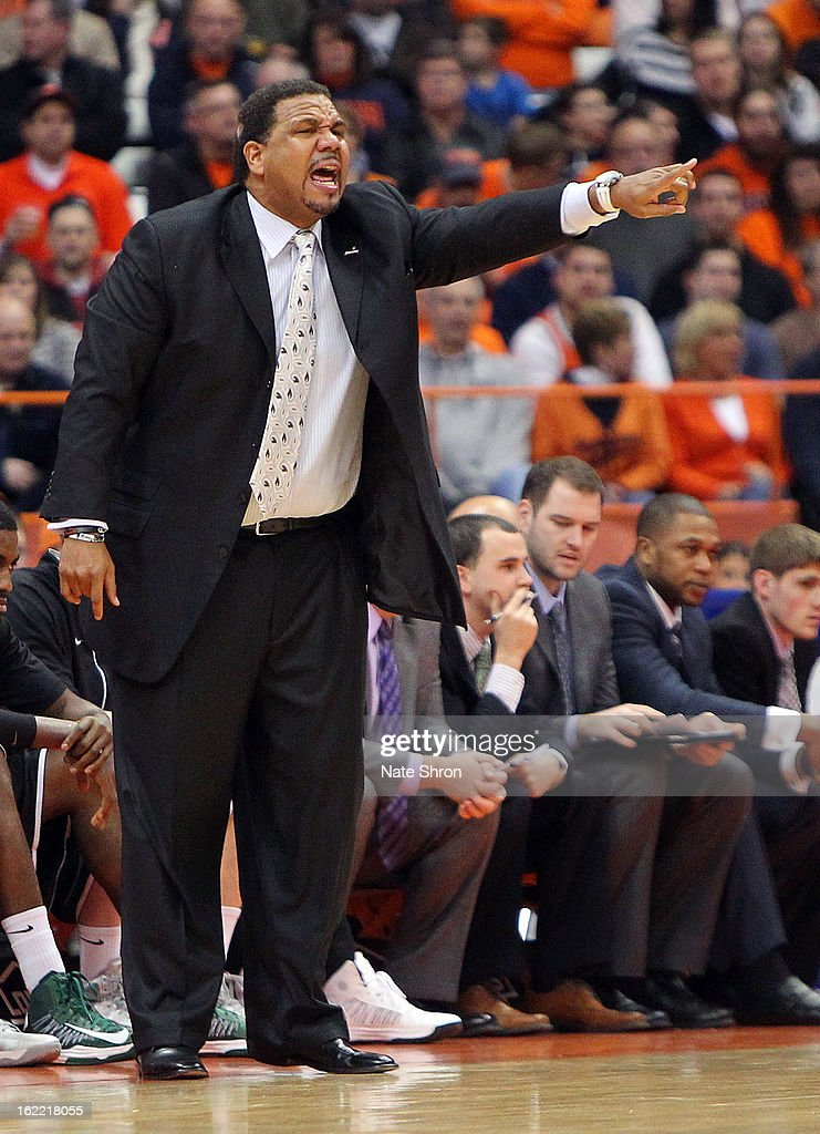 Head coach Ed Cooley of the Providence Friars gestures from the sideline during the game against the Syracuse Orange at the Carrier Dome on February 20, 2013 in Syracuse, New York.