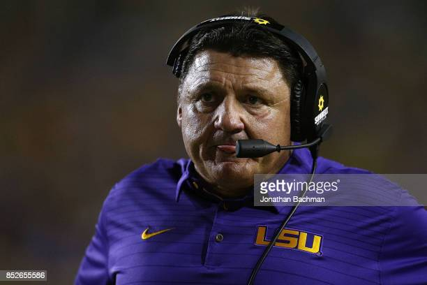 Head coach Ed Orgeron of the LSU Tigers reacts during the second half of a game against the Syracuse Orange at Tiger Stadium on September 23 2017 in...