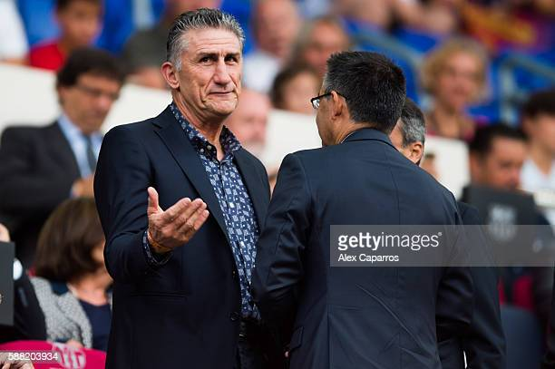 Head Coach Edgardo Bauza of Argentinian National Team speaks to President Josep Maria Bartomeu of FC Barcelona before the Joan Gamper trophy match...