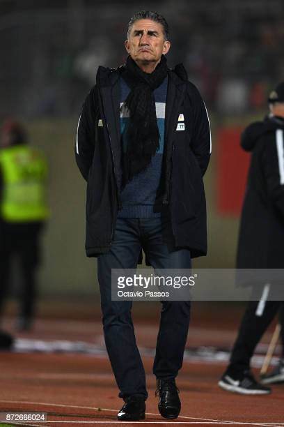 Head coach Edgardo Bauza of Saudi Arabia in action during the International Friendly match between Portugal and Saudi Arabia at Estadio do Fontelo on...