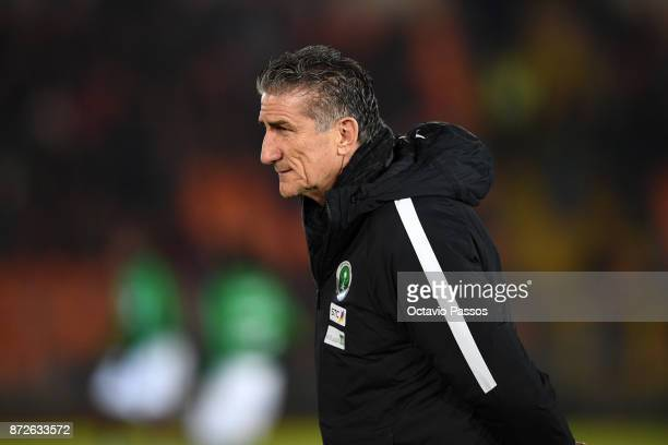 Head coach Edgardo Bauza of Saudi Arabia looks on during the International Friendly match between Portugal and Saudi Arabia at Estadio do Fontelo on...