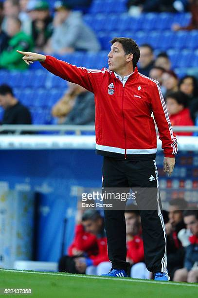 Head coach Eduardo Berizzo of RC Celta de Vigo directs his players during the La Liga match between Real CD Espanyol and Celta Vigo at CornellaEl...